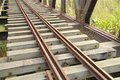 The close view of railroad track on iron bridge Royalty Free Stock Photography