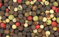 Close view red green black peppercorns Royalty Free Stock Photography