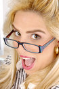 Close view of shouting businesswoman Stock Image