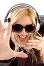 Close view of shouting woman enjoying music Stock Images