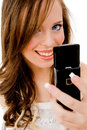 Close view of woman holding mobile Stock Photo
