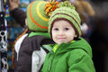 Close winter portrait of a boy in store Royalty Free Stock Photos