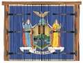 Closed Barn Door With New York State Flag Royalty Free Stock Photo