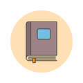 Closed book thin line icon, filled outline vector logo illustrat
