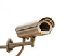 Closed circuit camera for security surveillance, on white backgr