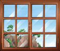 A closed clear window illustration of Royalty Free Stock Image
