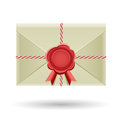 Closed envelope and seal the with red wrapped cord rear view on the white background Stock Images