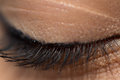 Closed eyelid closeup a photo of a it is covered with mascara the has the thinnest skin of the whole body Stock Photography