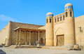 The closed gates old to itchan kala decorated with blue glazed tile ornament on its tiny towers khiva uzbekistan Royalty Free Stock Photography