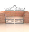 Closed iron gate in quadrilateral brick fence illustration Royalty Free Stock Photo