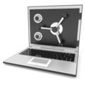 Closed laptop safe. Royalty Free Stock Photos