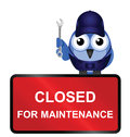 Closed for maintenance sign comical website isolated on white background Royalty Free Stock Images