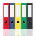 Closed office binders set isolated on white background. Side view vector illustration.