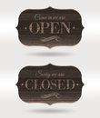 Closed and Open wooden retro signs Stock Photos