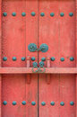 Closed red gate with a bar Royalty Free Stock Photo