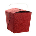 Closed red glitter Chinese food take out gift box Royalty Free Stock Photo
