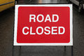 Closed road street sign informing about ahead Royalty Free Stock Photos