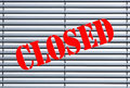 Closed shop or business sign on window blinds Stock Images