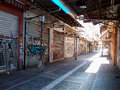 Closed shops row of on a two days strike in thessaloniki greece photograph taken on june Stock Photo
