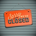 We are closed sign vintage vector eps illustration Stock Images
