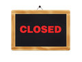 Closed sign wooden blackboard on a white background with an inscription Stock Images