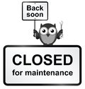 Closed site monochrome internet for maintenance sign isolated on white background Stock Images