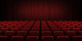 Closed theater red curtains and seats. 3d. Royalty Free Stock Photo