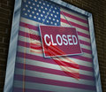 Closed united states of america concept as a metaphor for us government shutdown or failed american business and strict Stock Images