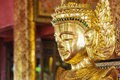 Closed up buddha image burmese style made from bronze Royalty Free Stock Photography