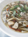 Closed up the mix mushroom soup with thai style Stock Photography