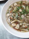 Closed up the mixed mushroom soup with thai style mix Stock Images