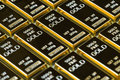 Closed up shot stack of shiny gold bars as business or financial Royalty Free Stock Photo