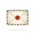 Closed vintage mail envelope with red wax seal