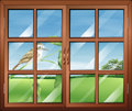 A closed window with a bird outside illustration of Royalty Free Stock Image