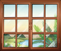 A closed window near the pond illustration of Stock Photos