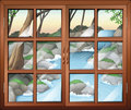 A closed window near the waterfall illustration of Royalty Free Stock Photo