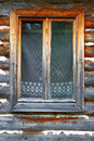 The closed window of the old wooden house details a private individual Royalty Free Stock Image