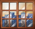 A closed window overlooking the city buildings illustration of Stock Images