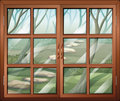 A closed window with a view of the forest illustration Stock Photo
