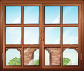 A closed window with a view of the gate illustration Royalty Free Stock Photography