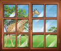 A closed window with a view of the giraffe illustration Royalty Free Stock Photo