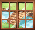 Closed window with view of river with a bridge illustration the Stock Photo