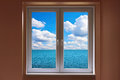 Closed window and view to sea windows with with sunny sky Royalty Free Stock Photography