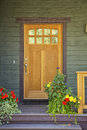 Closed wooden door of a home Royalty Free Stock Photo