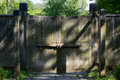 Closed wooden gate Royalty Free Stock Photo
