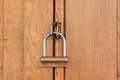 Closed wooden object a by a padlock Royalty Free Stock Photo