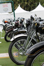 Closer up British classic motorcycle lineup Royalty Free Stock Photo