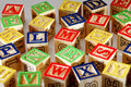 Closeup of abc blocks view wooden Stock Images