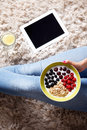 Closeup from above of a healthy snack close up bowl yogurt with berry fruits and oats Royalty Free Stock Photos