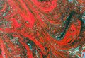 Closeup of abstract oil painting of orange and aquamarine on canvas, background of colors, blurs, fire. Royalty Free Stock Photo